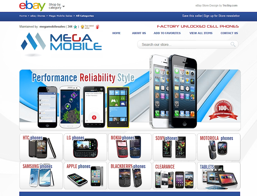 Mega Mobile eBay Design