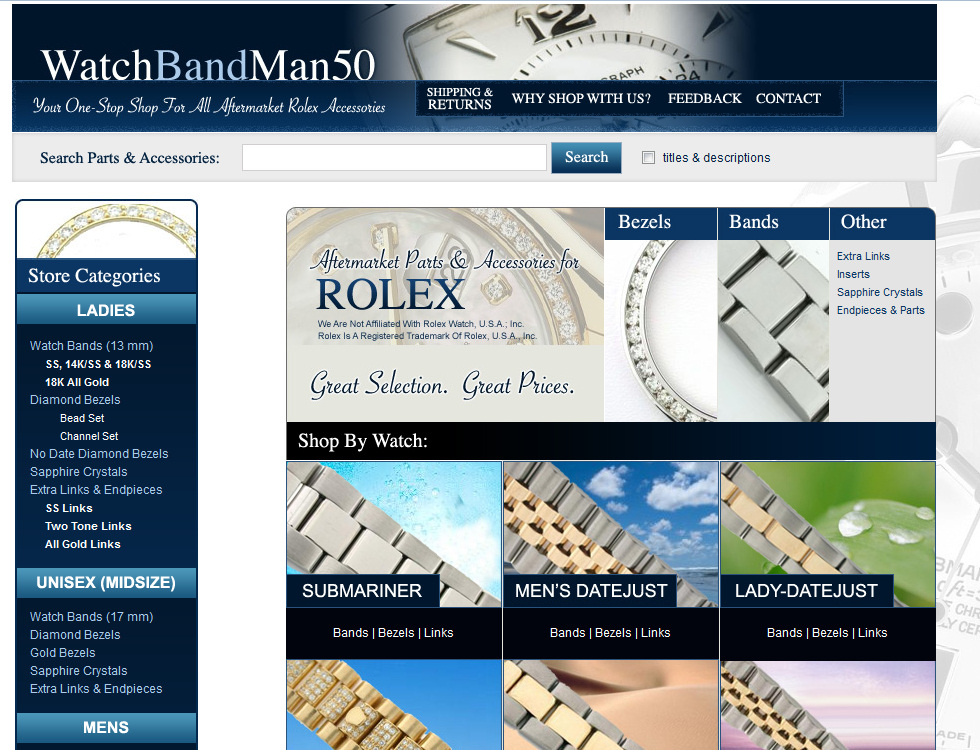 Watch Band Man eBay Store Design